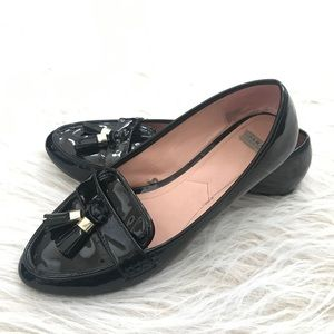Zara Trafaluc black patent Loafers tassels 40 US 9